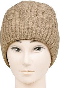 Bonjour Unisex Designer Woolen Knitted Beige  Cap