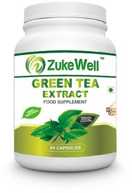 Zukewell Green Tea Extract 500 mg (60 Polyphenols) Fat Burner-60 Premium Quality Veg Capsules Pack of 1