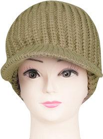 Bonjour Unisex Designer Woolen Knitted Khaki  Cap