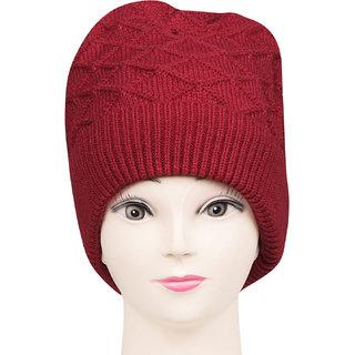 Bonjour Unisex Designer Woolen Knitted Maroon Cap