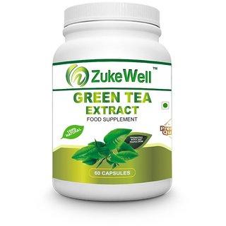 Zukewell Green Tea Extract 500 mg (60 Polyphenols) Fat Burner-60 Premium Quality Veg Capsules Pack of 1