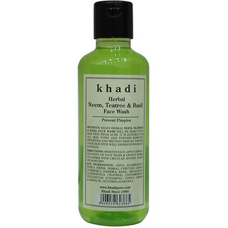 Khadi Herbal Neem, Teatree  Basil Face Wash - 210ml