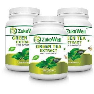 Zukewell Green Tea Extract 500 mg (60 Polyphenols) Fat Burner-60 Premium Quality Veg Capsules Pack of 3