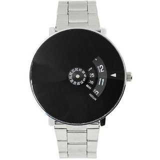 Paidu 58897 Black Dial Stainless Still Belt Analouge Watch For Boys And Girls Watch - For Men