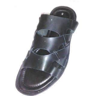 Men Black Leather Sandal