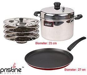 Pristine Stainless Steel Idli Cooker  Non Stick Dosa Tawa Combo Set