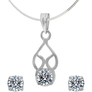 Shiyara Jewells 92.5 Sterling Silver Mesmerising Solitaire High Quality Cubic Zirconia  Pendant Set NL07018