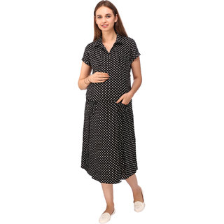 9b0ef359081 Buy Vixenwrap Jet Black Polka Print Maternity Dress Online - Get 21% Off