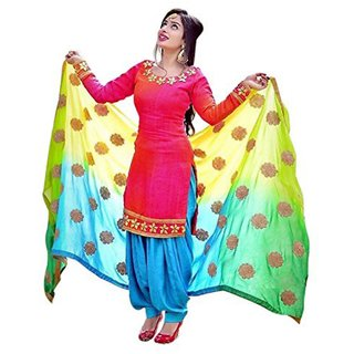 Holyday Latest Pink Patiala Salwar Suit Dress Material For Girls  Women Unstitched Free Size