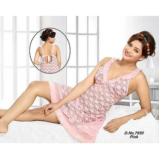 b9a1a47962 Hot 2pc Babydoll Panty Sheer Night and Lingerie Set 2650 Light Pink  Transparent Furry Bed Dress