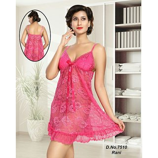 8a4a3530b1 Hot 2pc Babydoll Panty Sheer Night and Lingerie Set 7510 Pink Transparent  Furry Bed Dress