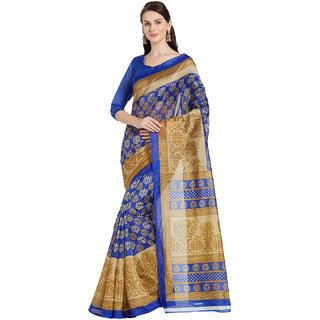 Florence Blue Bhagalpuri Silk Printed Saree with Blouse