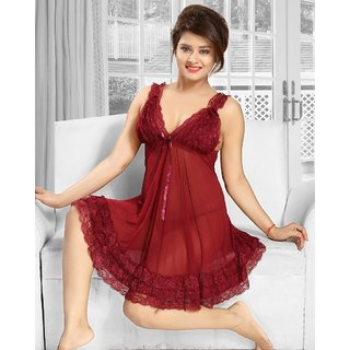 a7b15135a5 Hot 2pc Babydoll Panty Sheer Night and Lingerie Set 2650 Maroon Transparent  Frilly Bed Dress