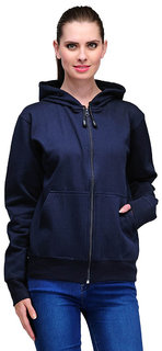 Ansh Fashion Wear Women's Solid Color Cotton Blend Hooded Full Sleeves Sweatshirt