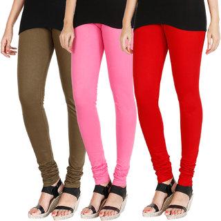 HRINKAR MEHENDI LIGHT PINK RED Soft Cotton Lycra Plain leggings for womens combo Pack of 3 Size - L, XL, XXL - HLGCMB0689-L