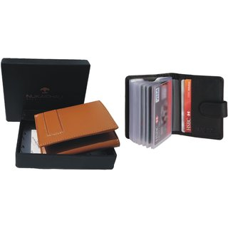Nukaichau Mens Tan Pure Leather Tri-fold Wallets