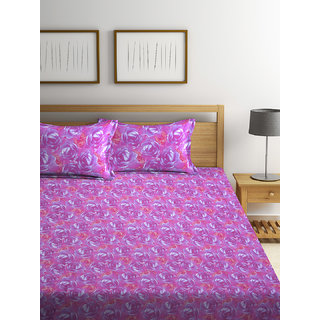 Bombay Dyeing Garnet 100% Cotton Pink Double Bed Sheet with 2 Pillow Covers 120 TC