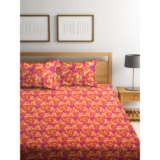 Bombay Dyeing Garnet 100% Cotton Yellow Double Bed Sheet with 2 Pillow Covers 120 TC