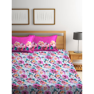 Bombay Dyeing Florentine 100% Cotton Pink Double Bed Sheet with 2 Pillow Covers 140 TC