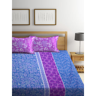 Bombay Dyeing Florentine 100% Cotton Blue Double Bed Sheet with 2 Pillow Covers 140 TC