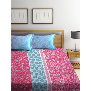 Bombay Dyeing Florentine 100% Cotton Magenta Double Bed Sheet with 2 Pillow Covers 140 TC