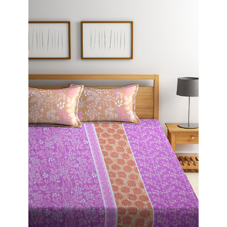 Bombay Dyeing Florentine 100% Cotton Red Double Bed Sheet with 2 Pillow Covers 140 TC