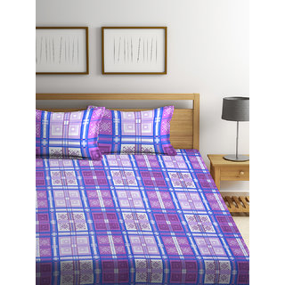 Bombay Dyeing Garnet 100% Cotton Purple Double Bed Sheet with 2 Pillow Covers 120 TC