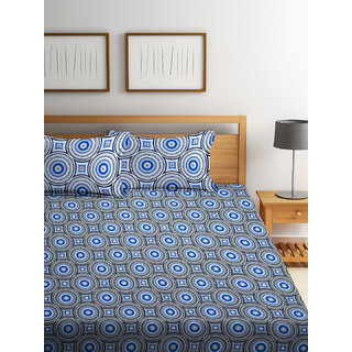 Bombay Dyeing Garnet 100% Cotton Blue Double Bed Sheet with 2 Pillow Covers 120 TC