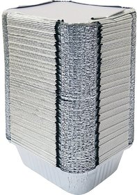Marketvariations Silver Serving Foil Container 450 ML with Lid (Pack of 100)