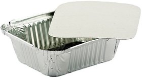 Marketvariations Silver Foil Container 250 ML with Lid (Pack of 100)