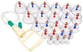 Chinese Cupping Therapy 24 Massage Cups with Pumping Handle for Vacuum Cupping Massage