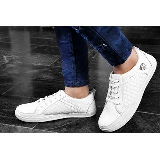 Baton Men's White Lace-up Sneakers