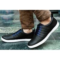 Baton Men's Black Lace-up Smart Sneakers