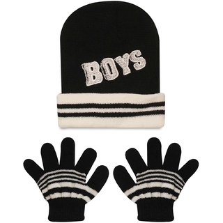 a39d25a26ba Buy Wonderkids Cap Gloves Baby Set - Black White (1 to 2 Years ...