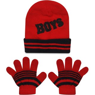 8257ae053a3 Buy Wonderkids Cap Gloves Baby Set - Red Black (1 to 2 Years) Online   ₹139  from ShopClues