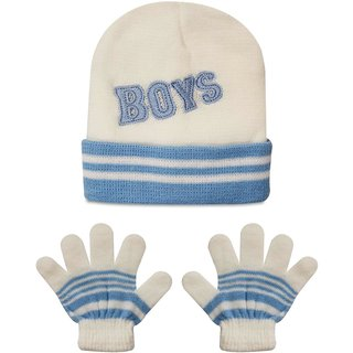 0b488672bbd Buy Wonderkids Cap Gloves Baby Set - Blue White (1 to 2 Years ...