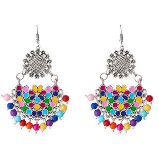 JewelMaze Multicolor Beads Rhodium Plated  Afghani Earrings