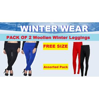 (PACK OF 2) Warm Woollen Women's Winter Leggings - Assorted Pack