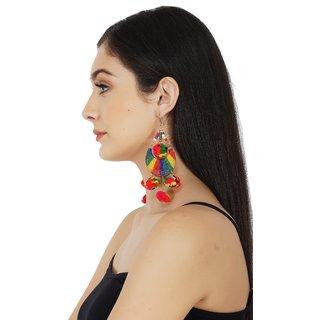 ba27bf3fa1e53 Multicolor Fur Ball Long Tassel Earrings
