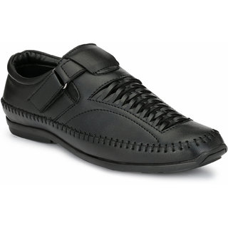 97cbde9b0fc27b El Paso Men s Black Artificial Leather Velcro Closure Comfort Casual Sandals
