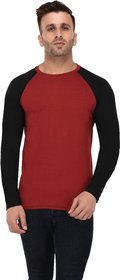 Bi Fashion Men's Red-Black Round Neck Full Sleeve Cotton Plain T-shirt