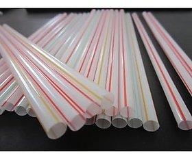 Marketvariations Plastic Drinking Milkshake/Thickshake Multicolor Straws Pack Of 100pc