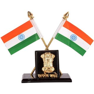 Dhwaj Flag Indian Flag Cross Design Dashboard Stand for Cars, Tables, etc. -Stand with Satyamev Jayte  Ashok Stambh