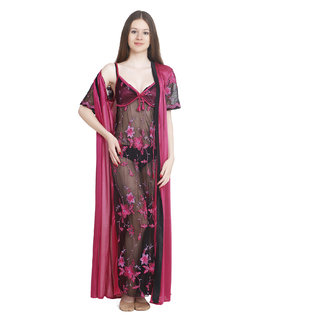 Keoti Pink Transparent full nighty with Robe - (DN-TRPFN-18)