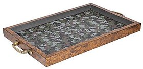 Nirathisayam Wood Hand-Made Tray, 1-Piece, Service For 4, Brown