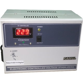 Rahul H-50110 a Digital 5 KVA/20 AMP In Put 100-280 Volt 5 Step Best Suitable For 2 Tonns Air Conditioners Stabilizer