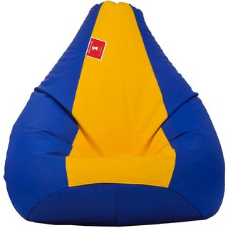 Comfy Bean Bag BLUE YELLOW L SIZE Without Fillers - Cover Only