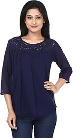 Anam Export Casual 3/4th Sleeve Solid Women's Dark Blue Top