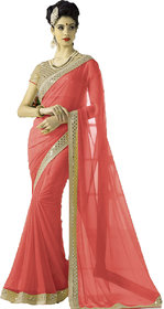 kuldevi fashion plain peach  georgette saree with blouse