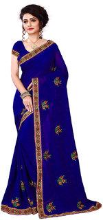 kuldevi fashion blue designer embroidered georgette saree with blouse